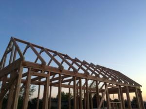 Partial build progress at sunset