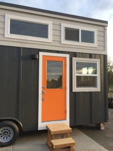 tiny house with orange door