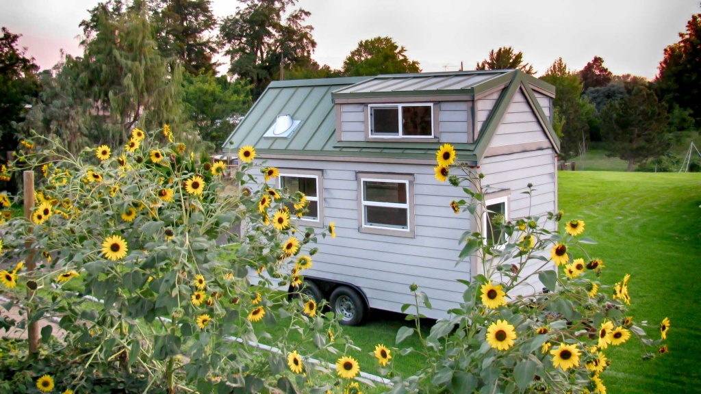 Tiny home with sunflowers