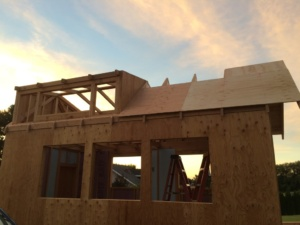 Tiny home frame in sunset